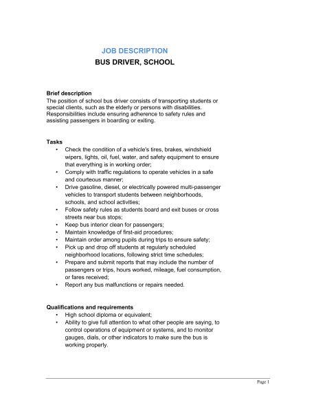Bus Driver School Job Description - Template & Sample Form ...