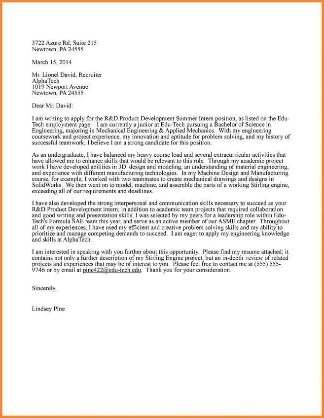 8 Cover Letter Sample For Engineering Internship Cover Letter best ...