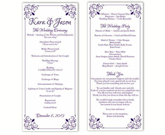 diy wedding program templates word