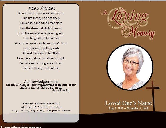 Single Fold Cross Memorial Program - Funeral Pamphlets