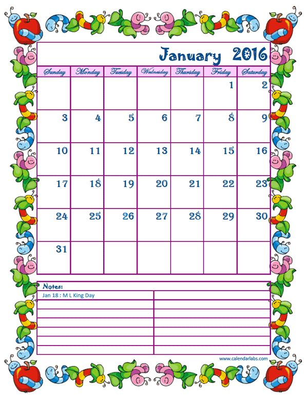2016 Monthly Calendar Kids - Free Printable Templates