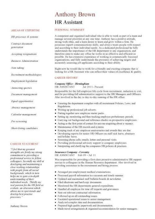HR assistant CV template, job description, sample, candidates ...