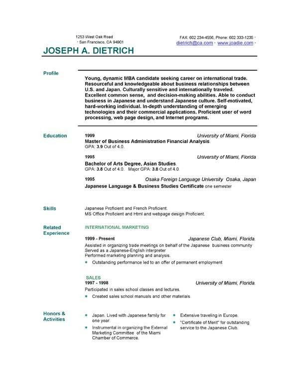 Resume Templates Free Download | sample basic resume outline ...