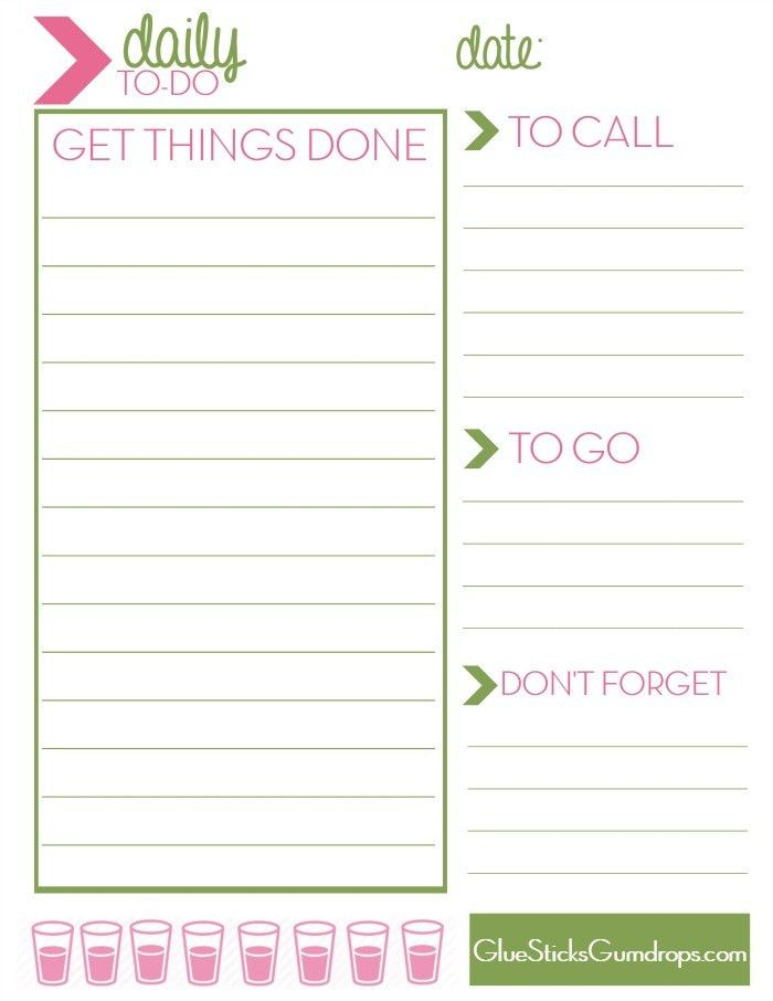 Free Printable Daily To-Do List - Glue Sticks and Gumdrops