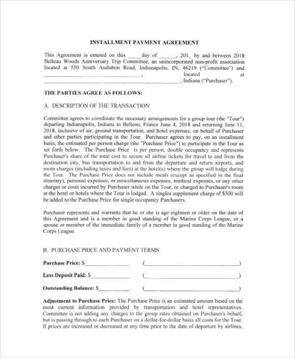 Payment Agreement Contract Sample - 7+ Examples in Word, PDF