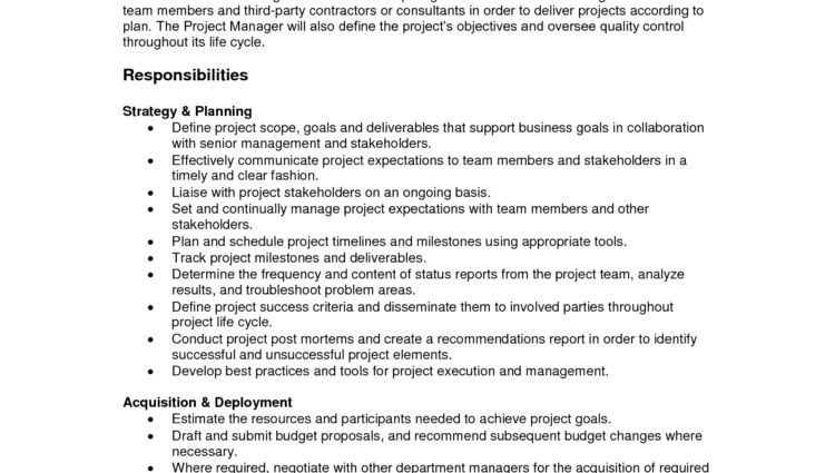 Project Manager Job Description Sample assistant project manager ...