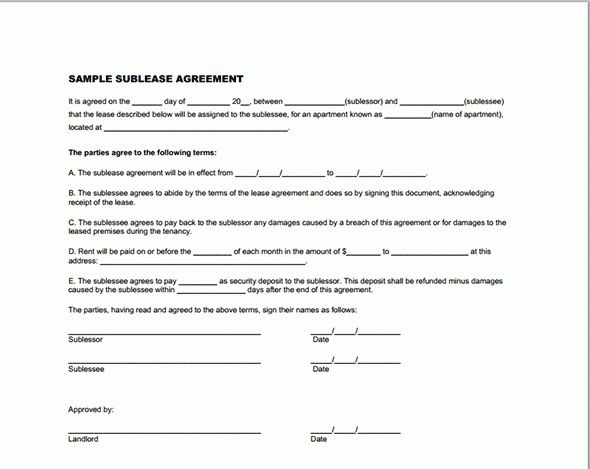 Printable Sample Sublease Agreement Template Form | Real Estate ...
