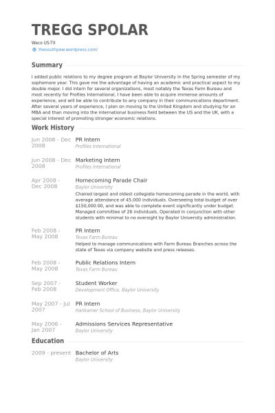 Pr Intern Resume samples - VisualCV resume samples database