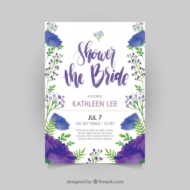 Floral bridal shower invitation template in watercolor style ...