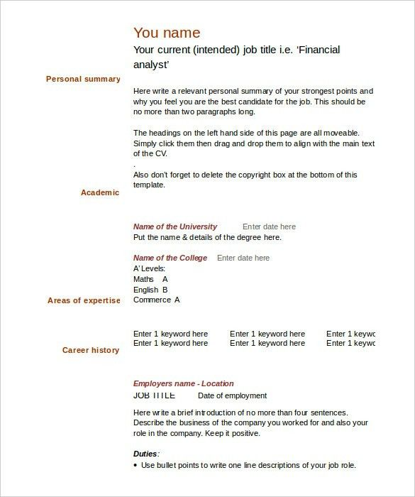 Blank Resume Template | health-symptoms-and-cure.com