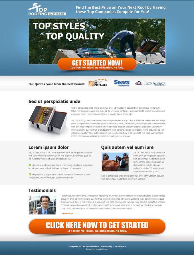 Top roofing company free quote Landing Page Design portfolio ...