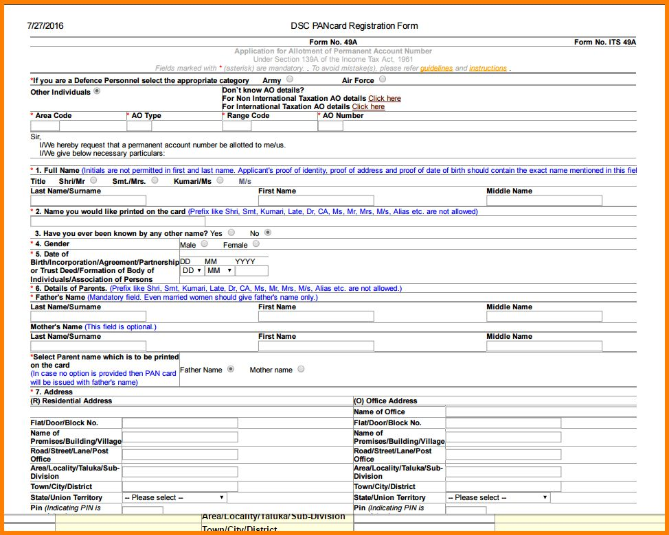 4+ online pan card application form | agile resume