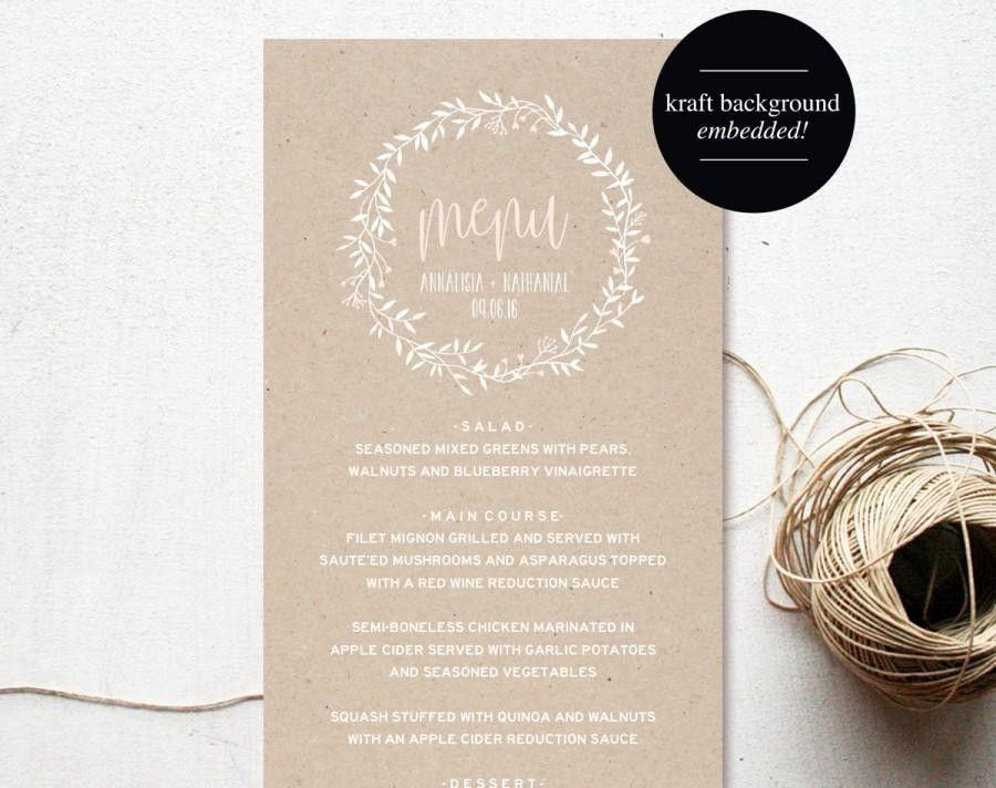 Wedding Menu Template, Menu Cards, Blush Pink, Blush Wedding, Menu ...