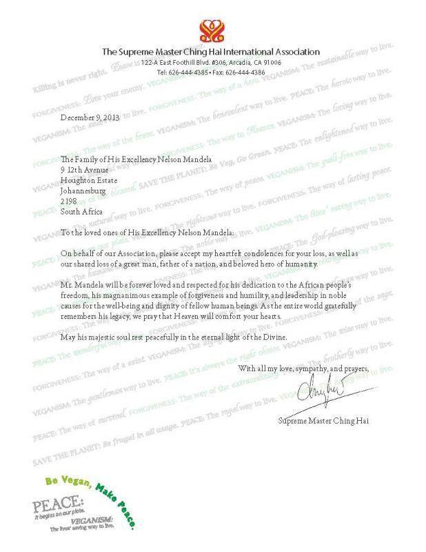 Condolence Letter: Nelson Mandela - The Supreme Master Ching Hai ...