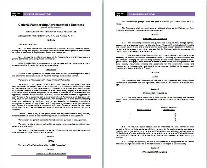 5 Best Professional Partnership Agreement Templates | Free ...
