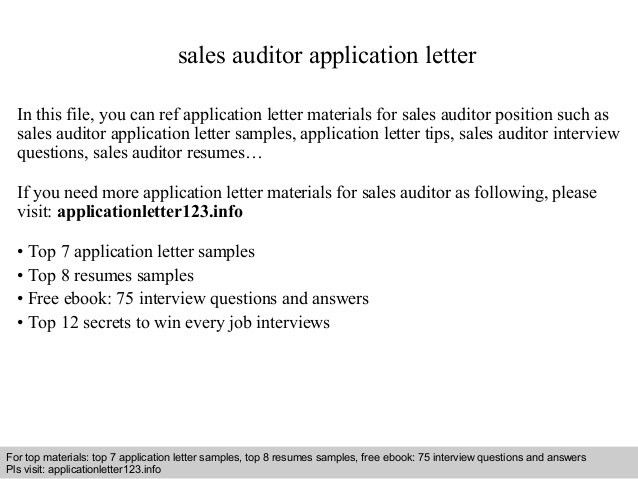 Sales Tax Auditor Cover Letter