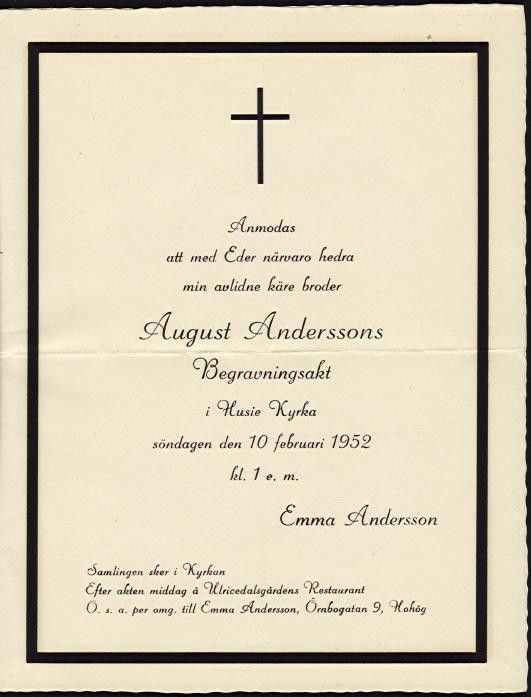 August Andersson's Funeral Invitation