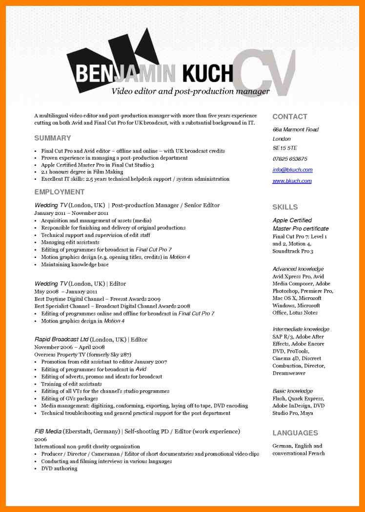 production editor resume bob sarles bioresume video resume