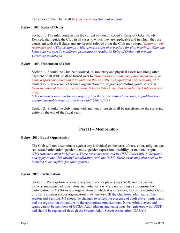 Club Bylaws Template in Word and Pdf formats - page 7 of 22