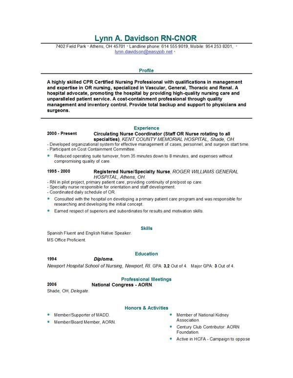 Nursing Resume Objectives. Nursing Resume Template Download For ...