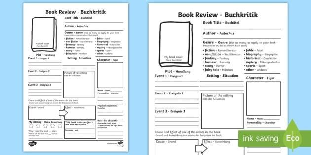 In Depth Book Review Writing Template English/German - In Depth
