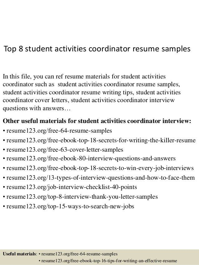 Top 8 Student Activities Coordinator Resume Samples 1