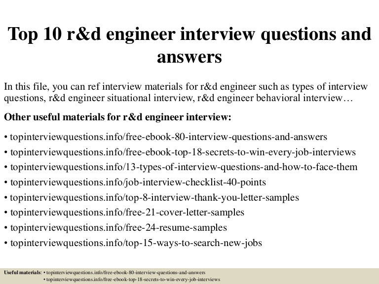 Top 10 r&d engineer interview questions and answers
