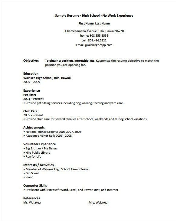 Teenage Resume Example. Fotos High School Resume Templates ...