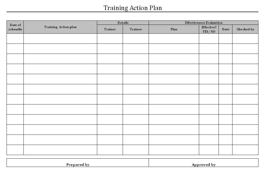 Training Action Plan Format