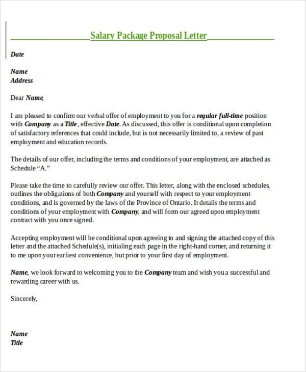 Sample Salary Proposal Letter - 8+ Examples in PDF, Word