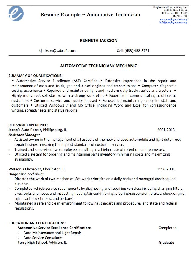 automotive technician resume samples unforgettable automotive