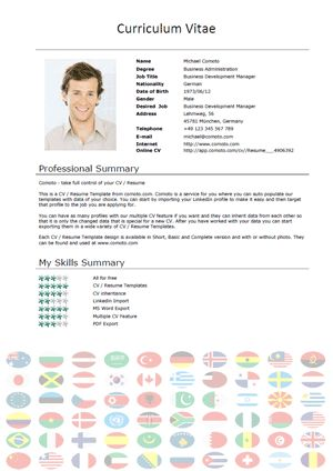 Free CV Templates – International Short – Download – Comoto