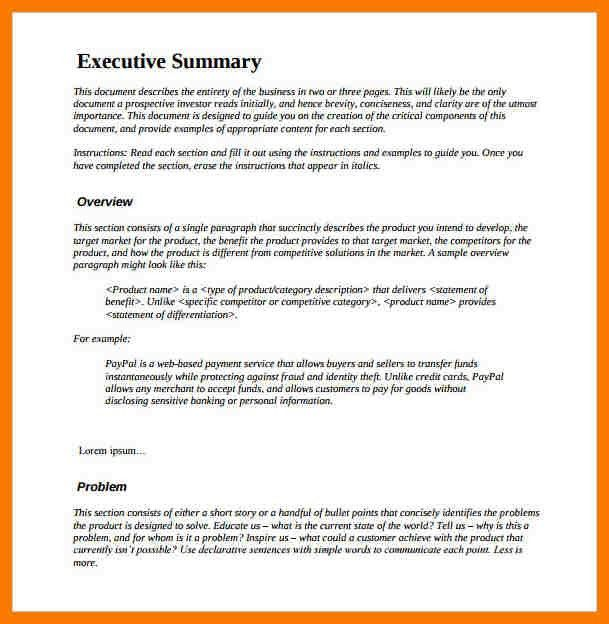 9+ executive summary example | park-attendant