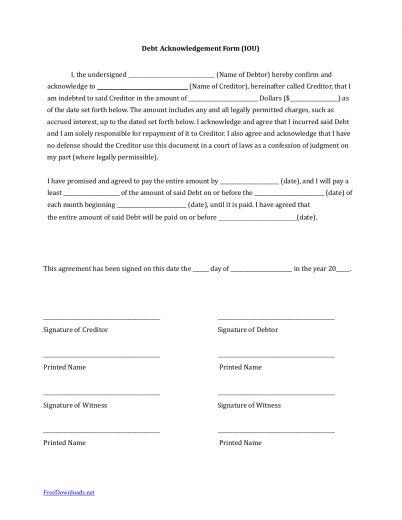 Download IOU (I Owe You) Debt Acknowledgment Form | PDF | RTF ...
