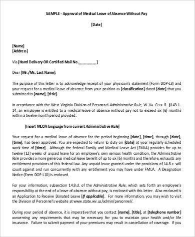 Leave Of Absence Template Leave Of Absence Letter Sample Formal