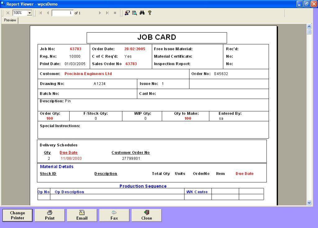 Job Card Template Excel | calendar template excel