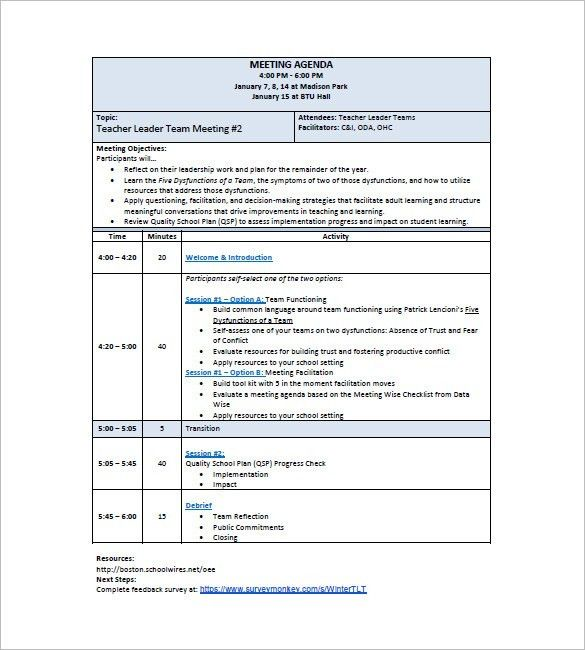 School Agenda Template – 8+ Free Word, Excel, PDF Format Download ...
