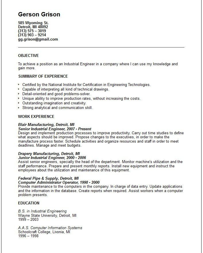 industrial engineer sample resume gallery creawizardcom