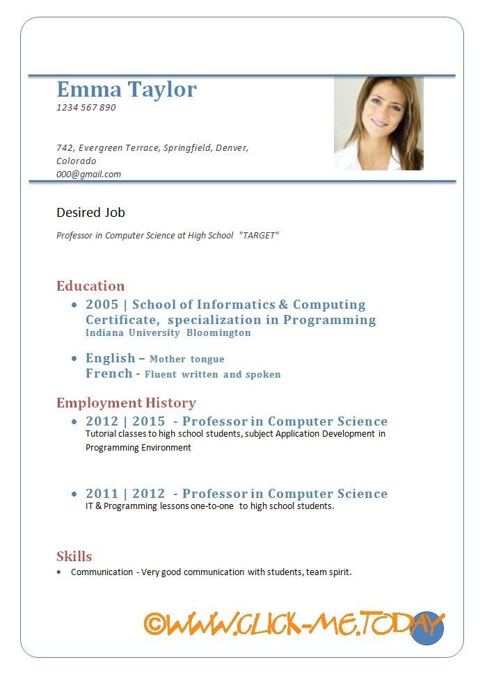 Example Of Resume For Job Application. Updated - A Resume For A ...