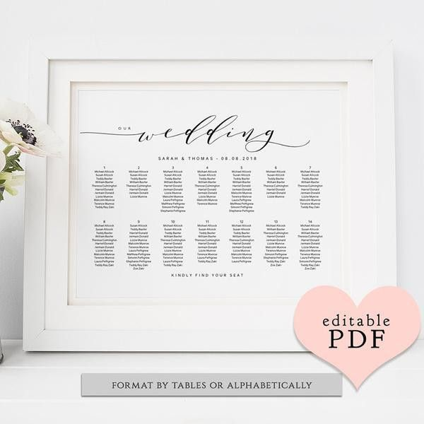 Printable Seating Charts, Wedding Table Plans - Connie & Joan