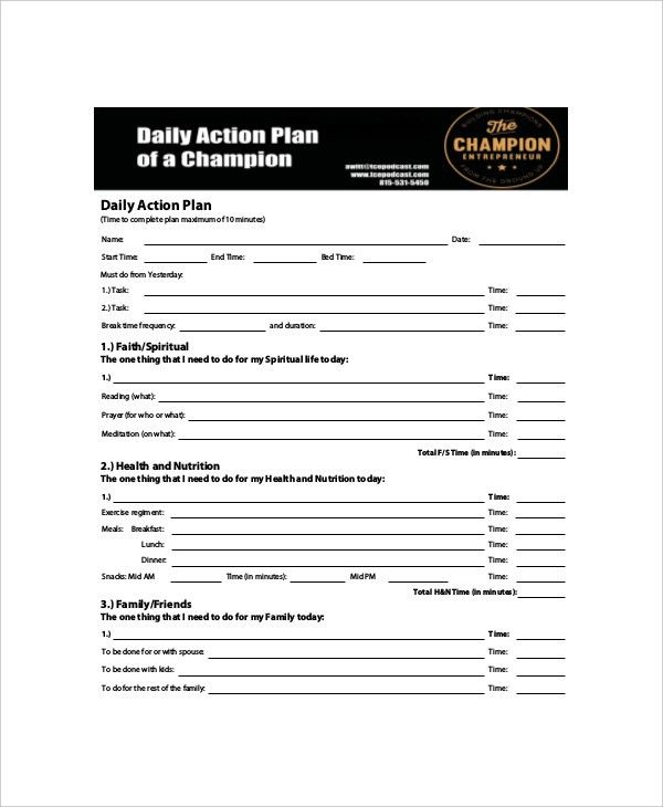 6+ Daily Action Planner Templates - Free Sample, Example. Format ...