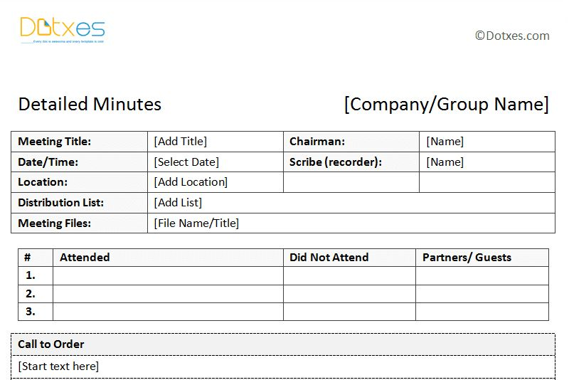 Sample of Minutes of Meeting (Descriptive Format) - Dotxes