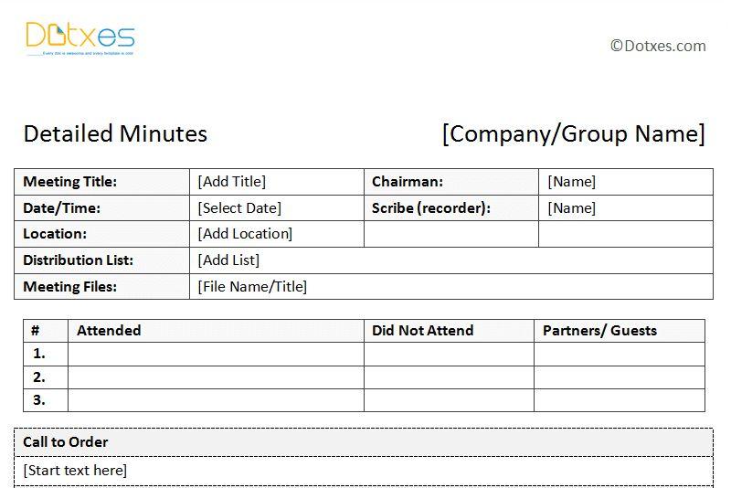 attendance meeting template