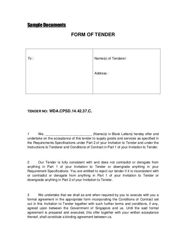 Tender Documents Templates - Contegri.com