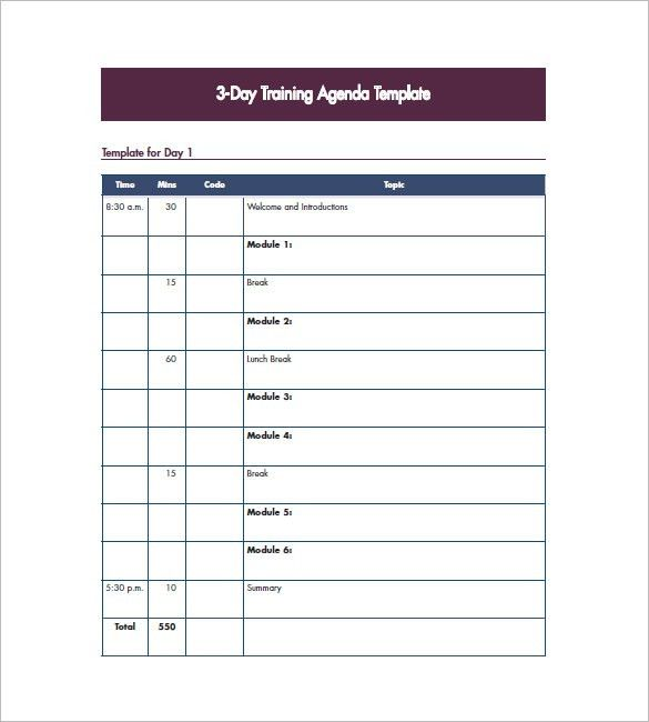 10+ Training Agenda Templates - Free Sample, Example, Format ...