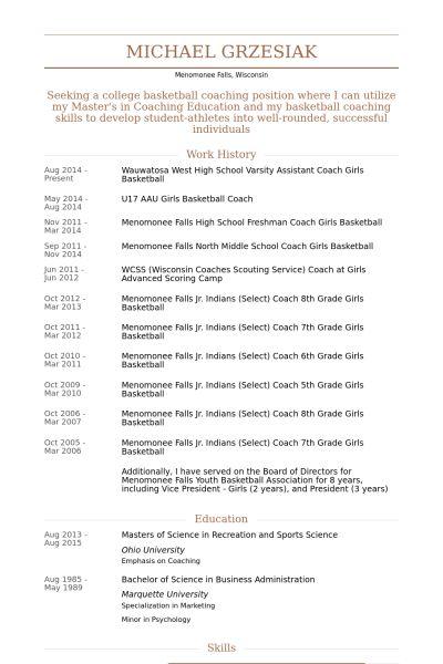 Assistant Coach Resume samples - VisualCV resume samples database