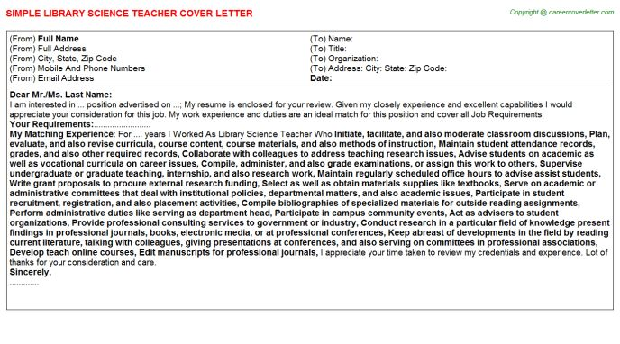 Family And Consumer Science Teacher Cover Letters