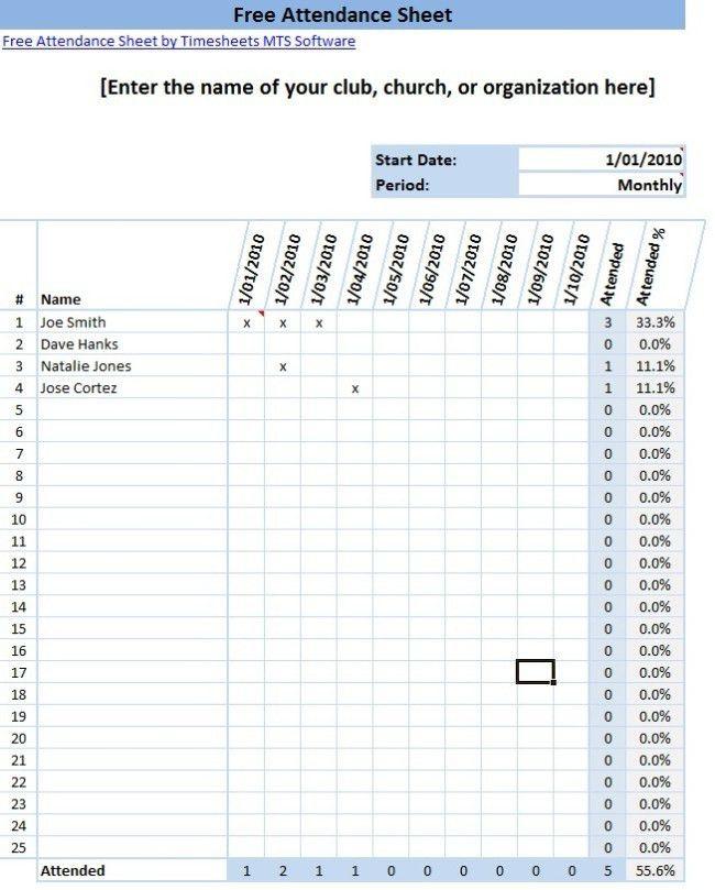 Sample Attendance Sheet Template. 46 Best Attendance Sheet ...