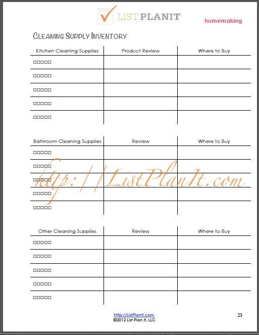 inventory supply list