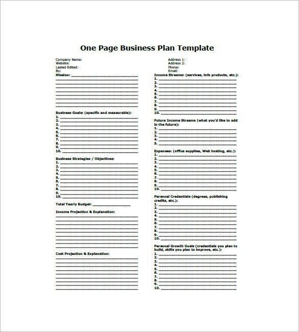 One Page Business Plan Template – 8+ Free Word, Excel,PDF Format ...
